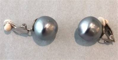 CLIPS ARGENT PERLES IRISEES BOULES BAROQUES 12mm GRIS